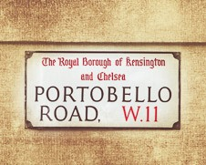 Rustic wall art of Portobello road street sign in London