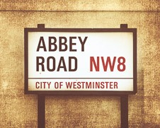 Rustic wall art of Abbey Road street sign in London