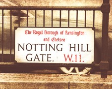 Rustic wall art of Notting Hill street sign in London