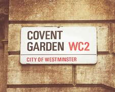 Rustic wall art of Covent Garden street sign in London