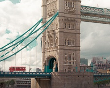 Wall art of Tower Bridge with the iconic road master on it