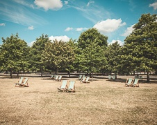 London wall art photo of beach chairs in Hyde Park