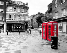 Wall art photo of the iconic red London telephone box in Covent Garden