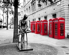 Urban wall art photo of the iconic red London telephone box
