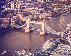Urban wall art photo of Tower Bridge taken from above