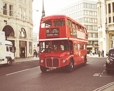 Wall art of  the iconic London red bus