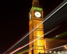 Wall art of  the Big Ben glowing in the night