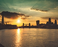 Urban wall art of  sunset over Tower Bridge and The Shard