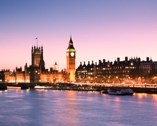 Urban wall art photo of sunset of Big Ben and the houses of parliament