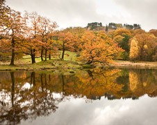A photograph of reflections on Grasmere in the Lake District
