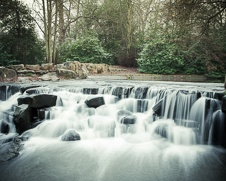 Wall art of cascading water falls at Virginia Water Lake in Surrey