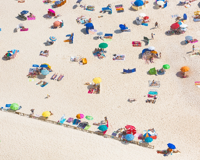 Wall art aerial photo of people on the beach in the summer