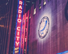 A fine art photo of the neon lights at Radio City Hall in New York