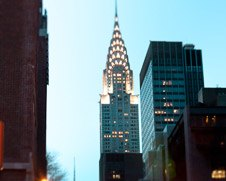 A photo of the Chrysler Building at the blue hour in New York City