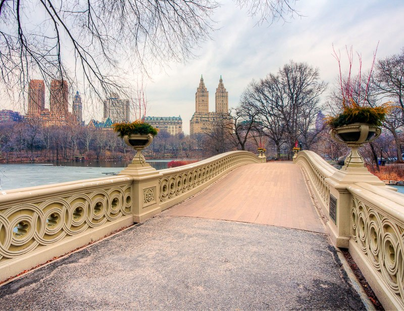 A wall art photo of the view from Bow Bride in Central Park, New York City