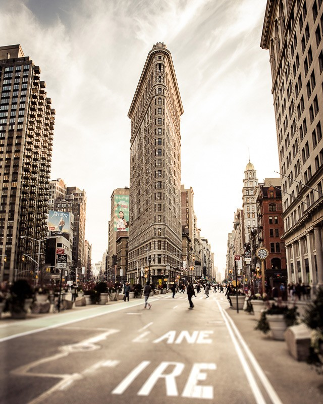 A wall art photo of the Flatiron building in New York City