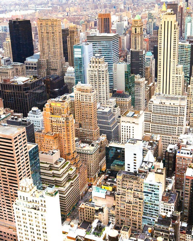 fine art print of lower Manhattan from above