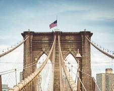 fine art print of The Brooklyn Bridge and the American flag