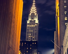 A fine art print of The Chrysler Building at night