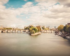 Wall art of the pont neuf in Paris, France