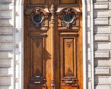 Wall  art photo of a brown mahogany Paris door