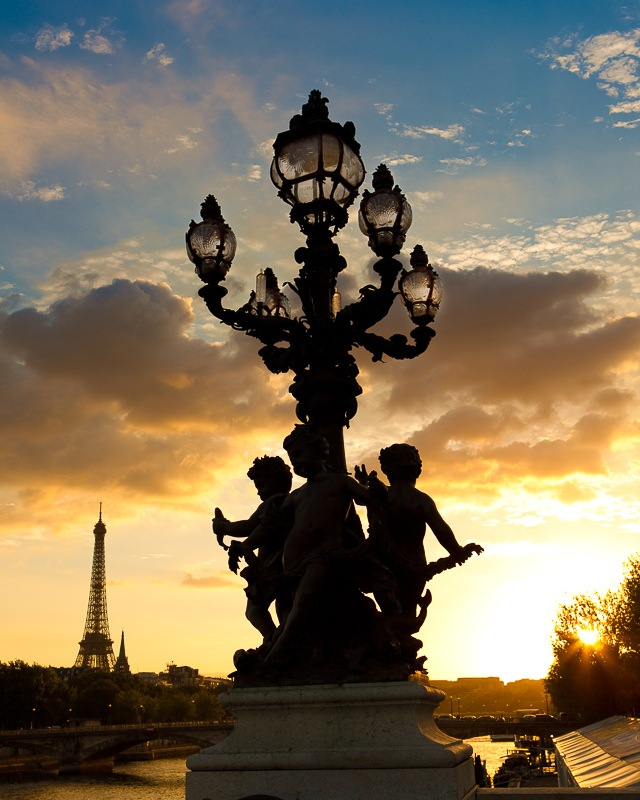 Wall art of Sunset over Paris with the Eiffel Tower in the background