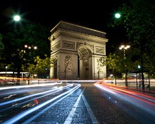 Wall art photo of light trails at the Arc De Triumph in Paris