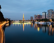 A wall art photo of the Eiffel Tower in Paris at the twilight hour