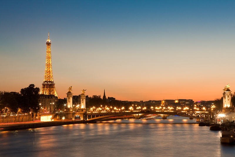 wall art photo of pont Alexandre and Eiffel tower after sunset