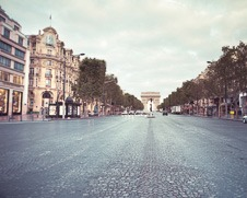 A wall art photo of the Champs Elysee early in the morning
