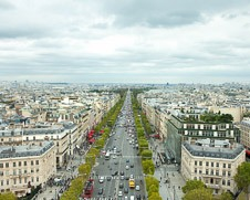 A wall photo of the Champs Elysee from  Arc De Triomphe