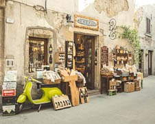 Art print of a traditional Italian store front in Tuscany