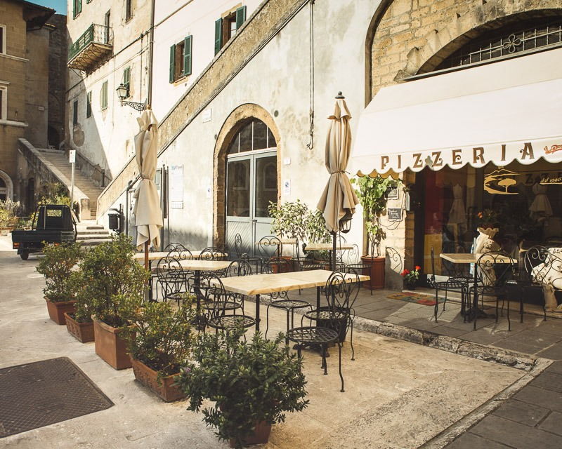 A traditional Italian pizzeria near the town hall in Pitigliano, Tuscany