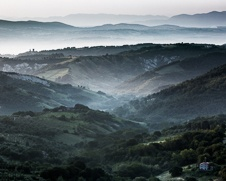 A fine art print of the valleys near Bangnoregio early in the morning