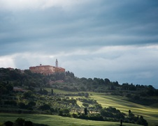 A fine art print of Pienza as seen from the valley below